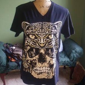 New AyGuey Black Tiger Skull Womens Shirt Small